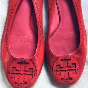 Tory Burch Flats Dark Pink Patent Leather
